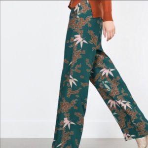 Zara Floral High Waisted Flare Wide Leg Pants sz L